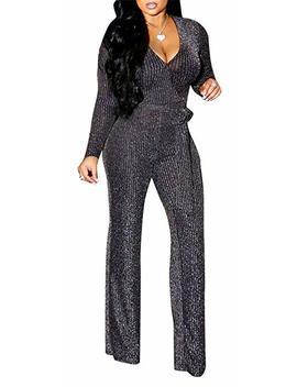 2 Piece Night Clubwear Outfits For Women Long Sleeve Top+Metallic Shiny Pants Glitter Clubwear by Lucuna