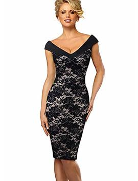 Vfshow Womens V Neck Sleeveless Floral Print Cocktail Party Pencil Dress by Vfshow