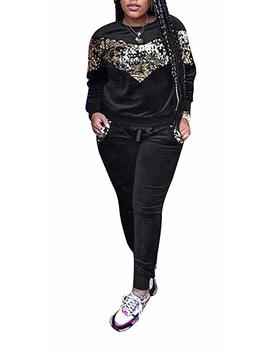 Women 2 Piece Outfit Glitter Sequin Shinning Velvet Long Sleeve Pullover Hoodie Tops And Skinny Pants Bodycon Sweatsuit Set by Famnbro