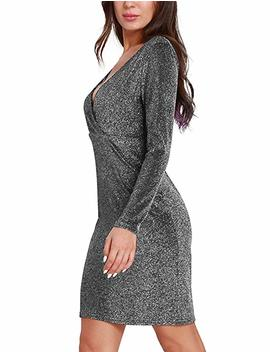 Kureas V Neck Long Sleeves Bodycon Dress Solid Soft Skinny Cocktail Party Short Dresses by Kureas