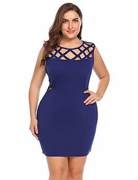Women Plus Size Sexy Cut Out Lace Sheath Cocktail Party Mini Bodycon Dress by In'voland