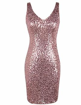 Pretty Guide Women's Sequin Cocktail Dress V Neck Bodycon Glitter Party Dress by Pretty Guide