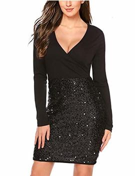 Hotme Women's Sequin Glitter V Neck Long Sleeve Sexy Wrap Front Bodycon Stretchy Mini Party Dress by Hotme
