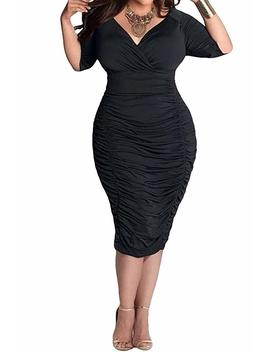 Poseshe Womens Plus Size Deep V Neck Wrap Ruched Waisted Bodycon Dress by Poseshe