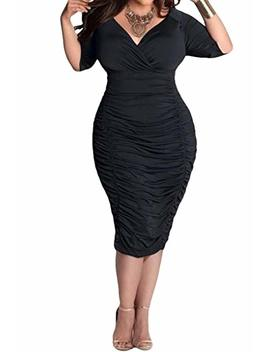 Pink Queen Womens Plus Size Deep V Neck Wrap Ruched Waisted Bodycon Dress by Pink Queen