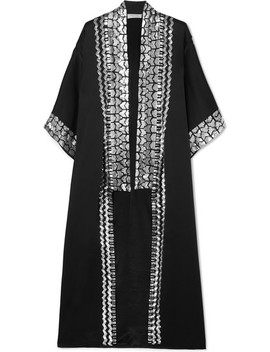 Sequin Embellished Satin Crepe Kimono by Temperley London