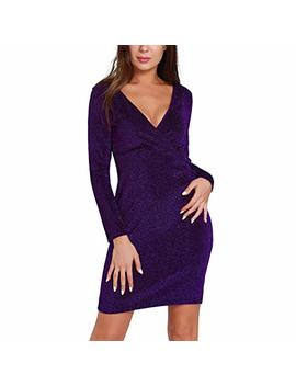 Hooyon Women's V Neck Mini Dress Cocktail Party Bodycon Vintage Long Sleeve Bling Bling Sexy Clubwear by Hooyon