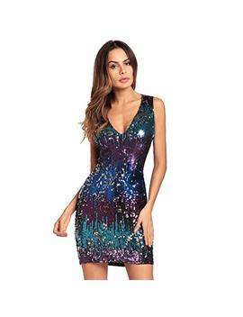 Bombax Women Sexy V Neck Bodycon Dress Sparkly Sequin Cocktail Short Mini Dress Gold by Bombax