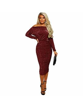 Ds Family Women Sexy Off Shoulder Slim Fit Bodycon Cocktail Club Party Midi Dress by Ds Family