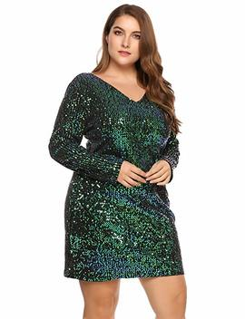 In'voland Women's Plus Size Glitter V Neck Long Sleeve Bodycon Sequin Cocktail Party Club Evening Mini Dress(16~24 W) by In'voland