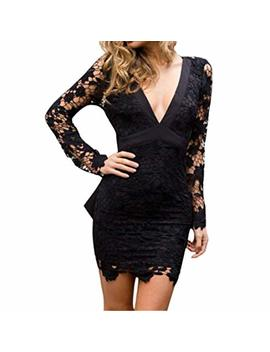 Funic Women's Deep V Neck Backless Lace Bodycon Dress Ladies Cocktail Party Mini Dress by Funic