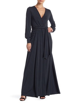Long Sleeve Front Tie Maxi Dress by Go Couture