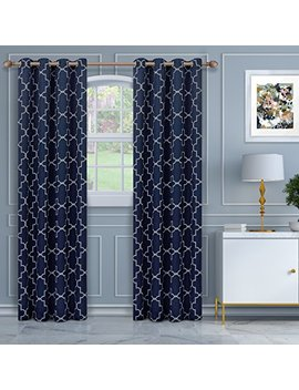 "Superior Imperial Trellis Quality Soft, Insulated, Thermal, Woven Blackout Grommet Printed Curtain Panel Pair (Set Of 2) 52"" X 108""   Navy Blue by Superior"