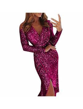 Minisoya Women Deep V Sequin Irregular Wrap Ruched Split Dress Long Sleeve Bling Glitter Nightclub Dress by Minisoya
