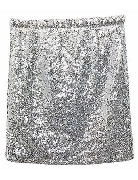 Vocni Women's Sequin Skirt Stretchy Bodycon Sparkle Mini Skirt Night Out Shiny Bling by Vocni