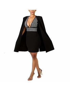 Ysjera Women's 2 Pieces Set Sexy Bodycon V Neck Mini Dress With Fashion Blazer Capes by Ysjera
