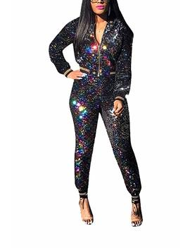Womens Two Piece Outfits Sequin Sportwear Long Sleeve Zipper Tops Skinny Pants Bodycon Party Tracksuit Set by Famnbro