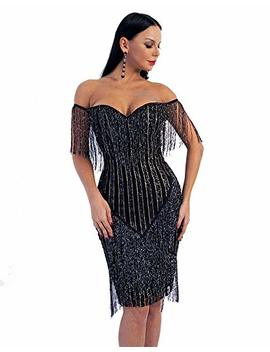 Miss Ord Women Off Shoulder Bustier Stripe Tassel Glitter Party Dress by Miss Ord