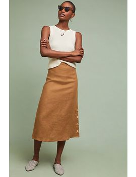 Buttoned Linen Skirt by Lilya