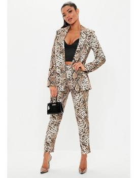 Stone Snake Print Blazer by Missguided