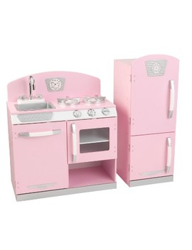 Kidkraft Pink Retro Kitchen And Refrigerator Play Set by Kid Kraft