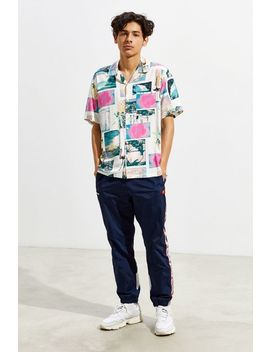 Uo Hawaii Postcard Short Sleeve Button Down Shirt by Urban Outfitters