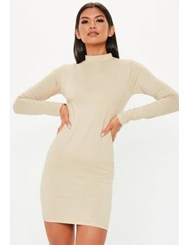 Nude Curve Hem High Neck Mini Dress by Missguided