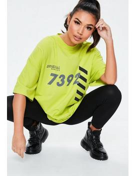 Lime Green Oversized Original Graphic T Shirt by Missguided