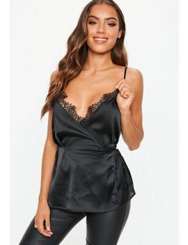 Black Lace Trim Wrap Over Cami Top by Missguided