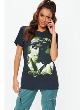 Black Tupac Washed T Shirt by Missguided