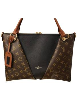 V Tote Mm In Noir/Caramel Canvas &Calfskin Shoulder Bag by Louis Vuitton