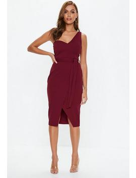 Burgundy One Shoulder Tie Midi Dress by Missguided