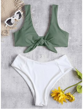 Two Tone Tied High Waisted Bikini Set   Camouflage Green M by Zaful