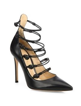 Strappy Leather Point Toe Pumps by Gianvito Rossi