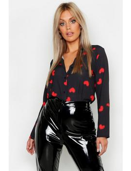 Plus Woven Heart Print Shirt by Boohoo