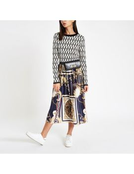 Navy Chain Print Pleated Midi Skirt by River Island