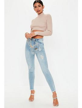 Light Blue Denim Sinner Authentic Distressed Skinny Jeans by Missguided