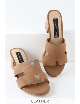 Foreva Sand Brown Nubuck Leather Mules by Steven