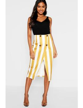 Button Detail Stripe Midi Skirt by Boohoo