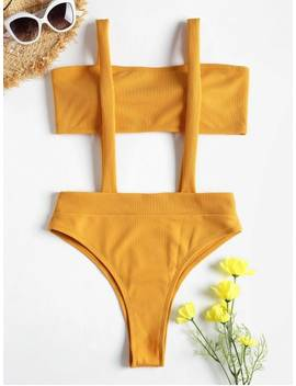 Ribbed Bandeau Suspender Two Piece Bikini Swimsuit   Bee Yellow S by Zaful