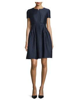 Sleeveless Fit & Flare Dress, Indigo/Multi by Armani Collezioni