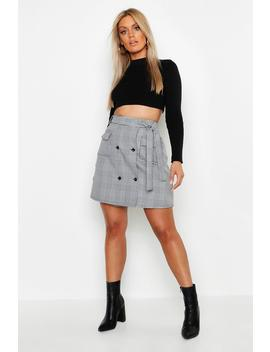 Plus Check Button Through Skirt by Boohoo