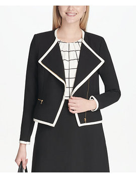 Petite Piped Zipper Front Jacket by Calvin Klein