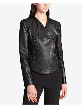 Faux Leather Moto Jacket, Created For Macy's by Dkny