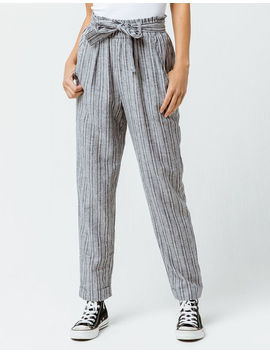 Sky And Sparrow Stripe Paperbag Waist Womens Trouser Pants by Sky And Sparrow