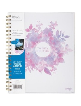 "2019 Planner 11""X 9.25"" Purple/Pink Floral   Mead by Mead"