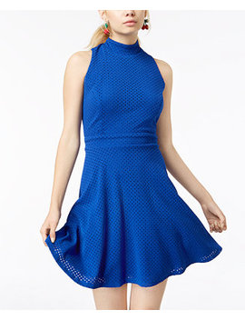 Juniors' Textured Mock Neck Fit & Flare Dress by Emerald Sundae