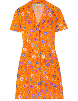 Clemenceau Floral Print Silk Crepe De Chine Mini Dress by Lhd