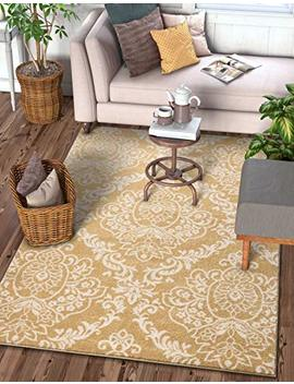 "Delicate Damask Gold Oriental Geometric Modern Casual Lattice Area Rug 5x7 ( 5'3"" X 7'3"" ) Easy Clean Stain Fade Resistant No Shed Contemporary Traditional Moroccan Trellis Floral Living Dining Room by Well Woven"