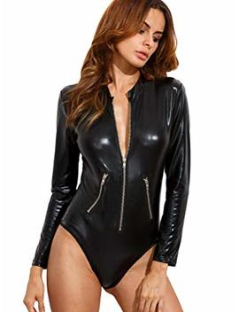 Verdusa Women's Long Sleeve Leather Zip Detail Sexy Bodycon Clubwear Bodysuit by Verdusa
